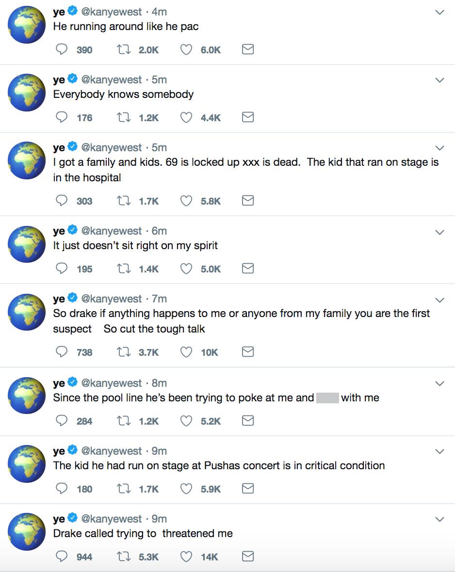 Kanye Drake TwitterCredit: Kanye West/Twitter
